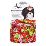 Aria bows in  Red & Green with dots  and chewron - 2 pack