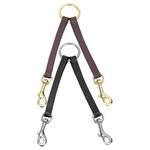 2-Way Leather Dog Couplers - Black