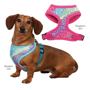 Confetti Print Dog Harnesses - Raspberry