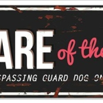 Advarselsplate Beware of the dog  - 40 x 13,5 cm