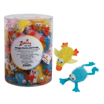 Zanies Shaggy Ducks & Frogs Cat Toys Canisters