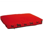 Red Cushion with Dog Grounds