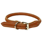 Soft round sewed genuine leather collar - Brown