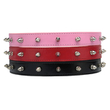 Faux Leather Studded Dog Collar - Black - 28-35 cm
