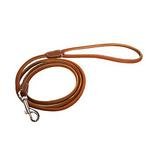 Super Soft Round Sewn Leather Leash - Brown