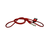 Super Soft Round Sewn Leather Leash - Red
